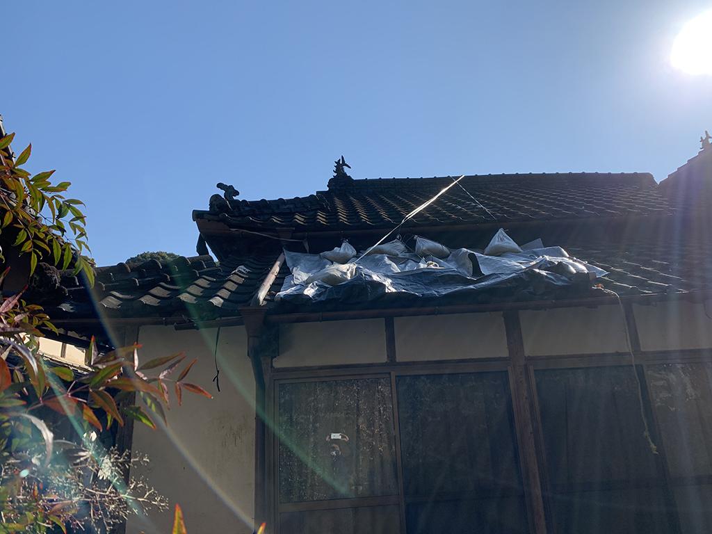 山鹿市 瓦の葺き替え工事 ブルーシート応急処置
